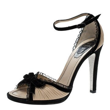 Rene Caovilla Black/Beige Pleated Fabric Bow Detail Ankle Strap Sandals Size 38.5