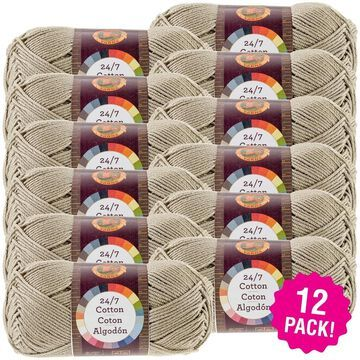 Lion Brand 24/7 Cotton Yarn - 12/Pk-Taupe - Taupe