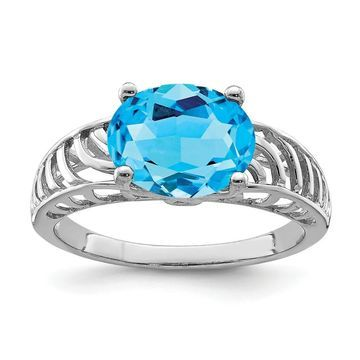 Sterling Silver Rhodium-plated Swiss Blue Topaz Ring by Versil (7)