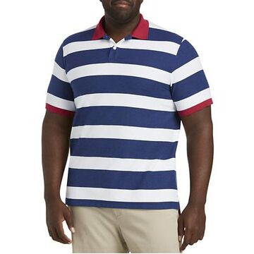 Big & Tall Harbor Bay Rugby Polo Shirt - Blue Multi