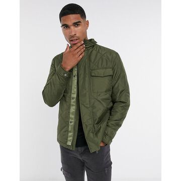 Selected homme quilted coat in khaki-Green