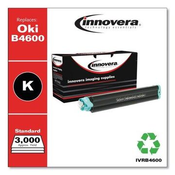 Innovera Remanufactured Black Toner Cartridge, Replacement for Oki B4600 (43502301), 3,000 Page-Yield -IVRB4600