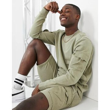 Only & Sons organic cotton cargo sweatshirt in green - part of a set