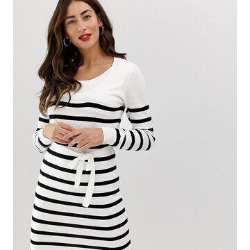 Mamalicious nursing stripe knitted dress-White