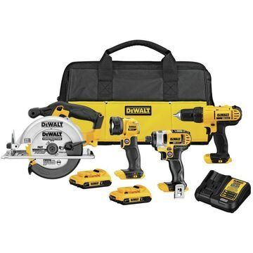 DEWALT 4-Tool 20V MAX LI-ION Cordless Power Tool Combo Kit with Soft Case (Charger Included and (2) 2Ah Batteries Included)