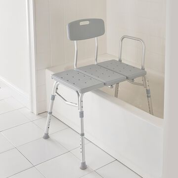 Deluxe Bath Transfer Bench by Drive Medical in Gray
