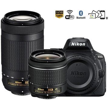 Nikon D5600 24.2MP DX-Format DSLR Digital Camera Dual Zoom Lens Kit - (Black)
