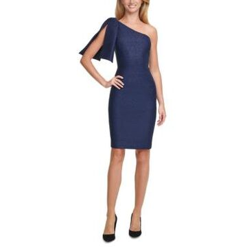 Eliza J One-Shoulder Glitter-Knit Dress