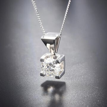 Divina 14KT White Gold 3/8ct TDW Certified Diamond Solitaire Pendant