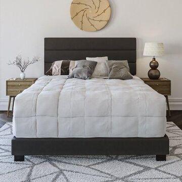 Premier Rapallo Upholstered Faux Leather Tri Panel Channel Headboard Platform Bed Frame, King, Black