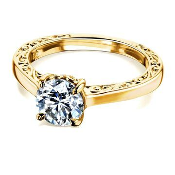 Annello by Kobelli 14k Gold One Carat Moissanite Solitaire Filigree Engraved Engagement Ring (FG/VS)
