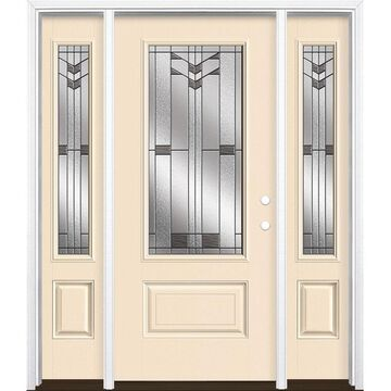 Masonite Frontier 64-in x 80-in Fiberglass 3/4 Lite Left-Hand Inswing Bisque Painted Prehung Single Front Door with Sidelights with Brickmould