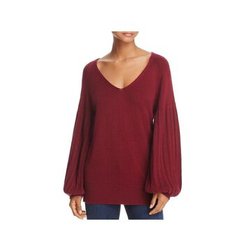 Ella Moss Womens Francesca V-Neck Sweater Wool Blend Pullover