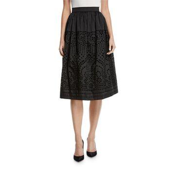 Eyelet Taffeta Midi-Length Skirt