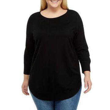 Dex Women's Plus Size Rounded Hem Sweater - -