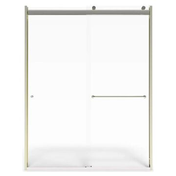 American Standard 70-in H x 44-in to 48-in W Semi-Frameless Sliding Brushed NIckel Shower Door (Clear Glass)   AM00821400.006