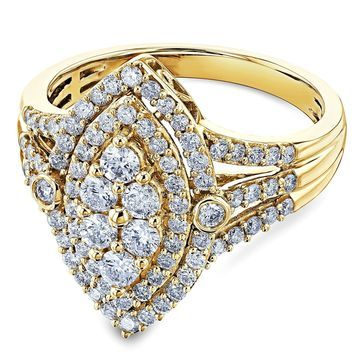 Annello by Kobelli 10k Yellow Gold 1 Carat TW Marquise Cluster Split Shank Diamond Ring