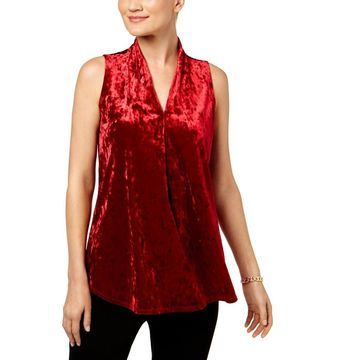 NY Collection Womens Velvet Pleated Pullover Top