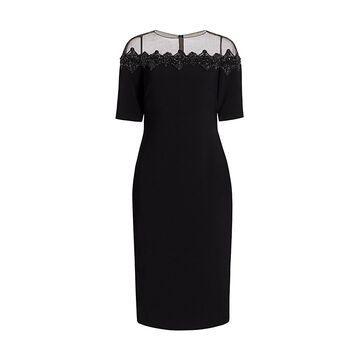 THEIA Crepe Illusion-Neck Cocktail Dress