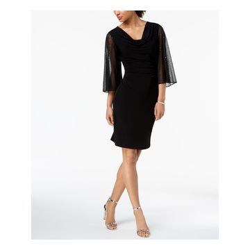 CONNECTED Womens Black Sequined Ruched Sheer Bell Sleeve Cowl Neck Knee Length Sheath Formal Dress Size: 6