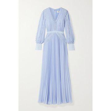 Self-Portrait - Grosgrain And Corded Lace-trimmed Plisse-chiffon Gown - Sky blue