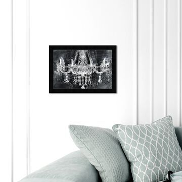 Oliver Gal 'Crystal Attraction' Fashion and Glam Framed Wall Art Prints Chandeliers - Black, White