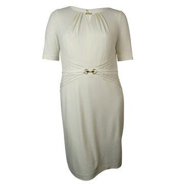 Ellen Tracy Women's Keyhole Hardware-Detail Pintucked Knit Dress