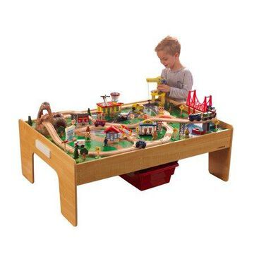 KidKraft Adventure Town Railway Wooden Train Set & Table with 120 Accessories and Storage Bins