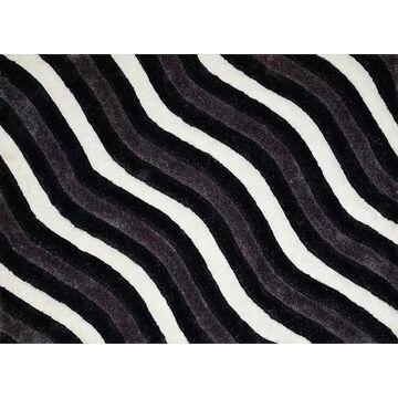 United Weavers Finesse Showers Geometric Shag Rug, Black, 2X3 Ft