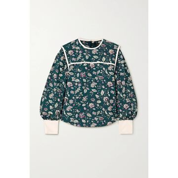 Isabel Marant - Casey Silk-trimmed Floral-print Cotton Blouse - Green