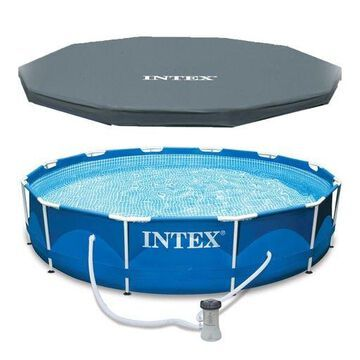 ''Intex 12 x 30'''' Metal Frame Set Above Ground Swimming Pool with Filter & Cover''