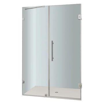 Aston Nautis Frameless Hinged Shower Door, Chrome, 47