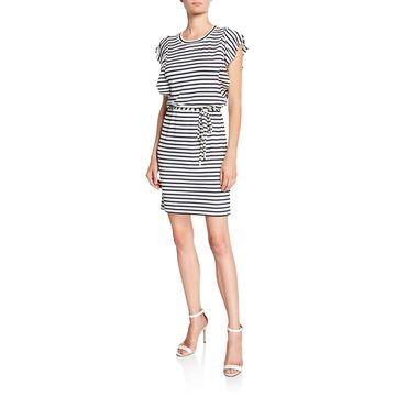 Striped Ruffle Waist-Tie Dress
