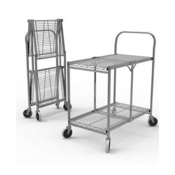 Offex Two Shelf Collapsible Wire Utility Cart