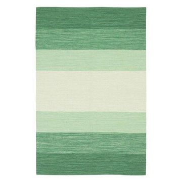 India Contemporary Area Rug, Green and Cream, 3'6x5'6 Rectangle