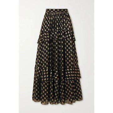 Etro - Tiered Metallic Fil Coupe Silk-blend Georgette Maxi Skirt - Black