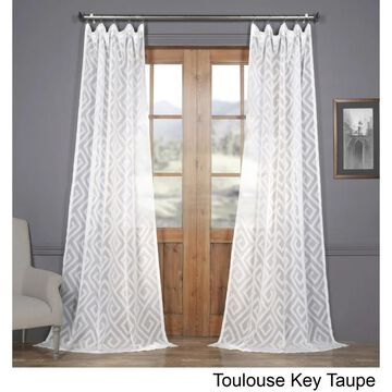 Exclusive Fabrics Toulouse Key Taupe Patterned Faux Linen Sheer Curtain
