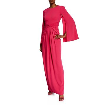 Long Split-Sleeve Column Gown w/ Knot-Detail