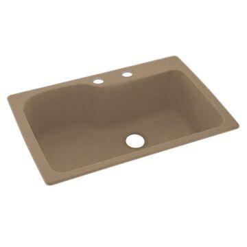 Swanstone 33-in x 22-in Barley Single-Basin Drop-in 2-Hole Residential Kitchen Sink