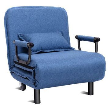 Costway Convertible Sofa Folding Arm Chair Sleeper Recliner Lounge Cou