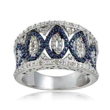 DB Designs Sterling Silver 1/4ct TDW Blue/Black and White Diamond Ring (Blue Diamond Size 5)