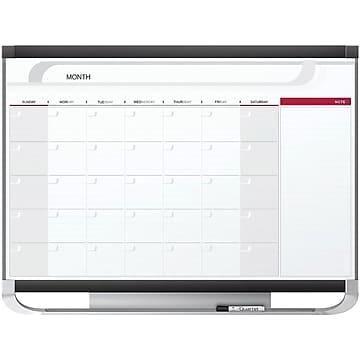 Quartet Prestige Magnetic Total Erase Calendar Whiteboard, Graphite Frame, 3' x 2' (CP32P2)