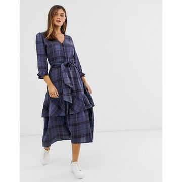 Y.A.S Check midi dress with waist tie details