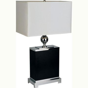 ORE International 25-in Black Table Lamp with Fabric Shade