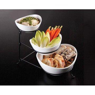 Gibson Elite Gracious Dining 3 Tier Bowl Server Set w/ Metal Stand