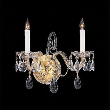 Crystorama Traditional Collection 2-light Polished Brass/Crystal Wall Sconce