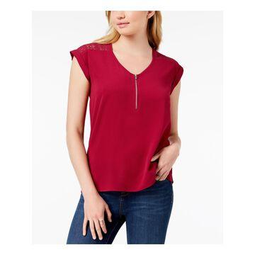 BCX Womens Maroon Short Sleeve Scoop Neck Wear To Work Top Size: M
