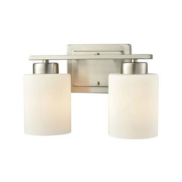Summit Place 2-Light for the Bath in Brushed Nickel with Opal White Glass