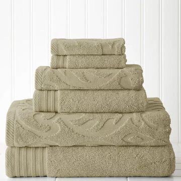 Pacific Coast Textiles 6-piece Jacquard Medallion Swirl & Solid Mix & Match Towel Set, Beig/Green, 6 Pc Set