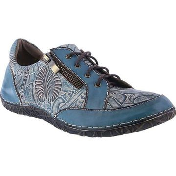L'Artiste by Spring Step Women's Cluny Sneaker Teal Full Grain Leather